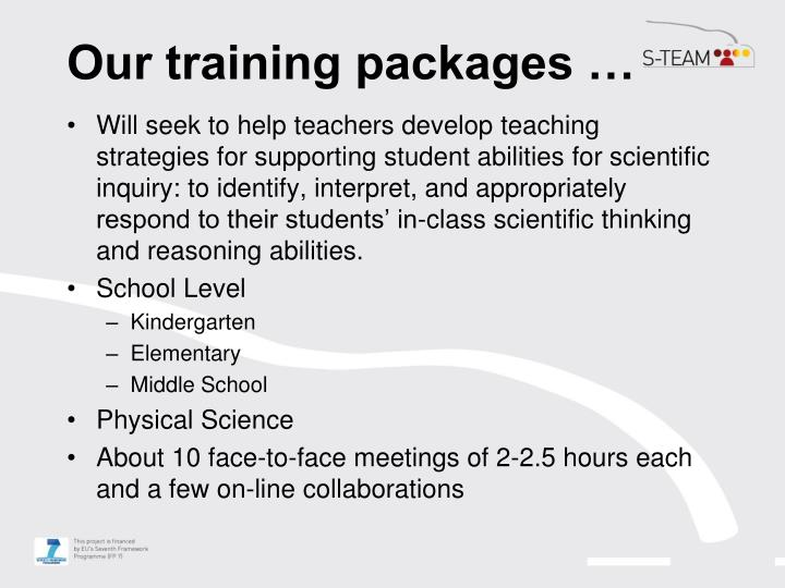 Our training packages …