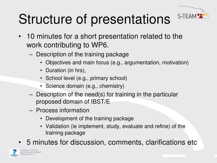Structure of presentations