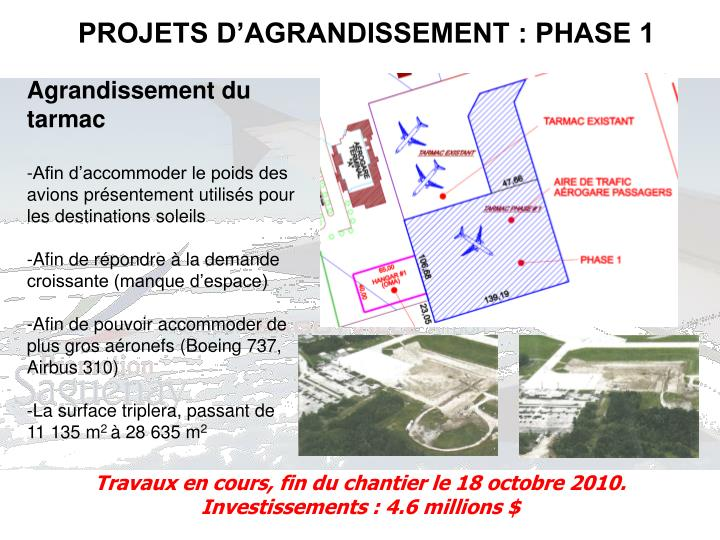 PROJETS D'AGRANDISSEMENT : PHASE 1