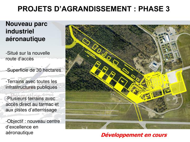 PROJETS D'AGRANDISSEMENT : PHASE 3