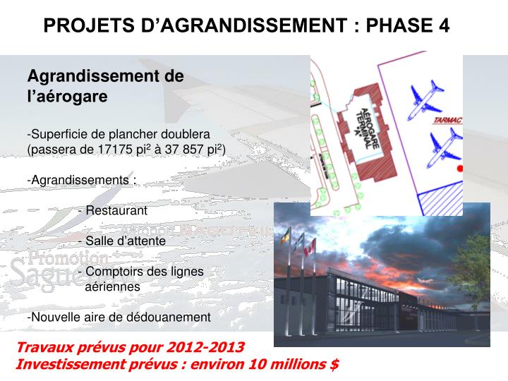 PROJETS D'AGRANDISSEMENT : PHASE 4