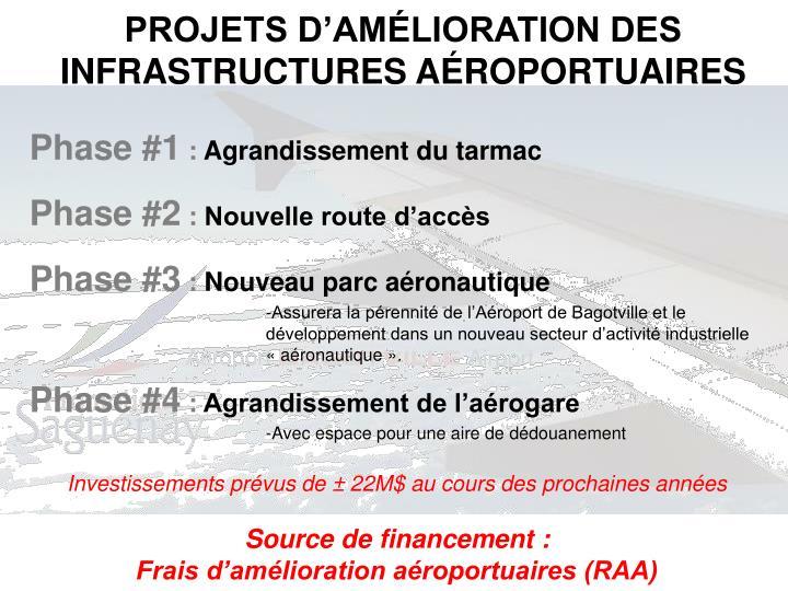 PROJETS D'AMÉLIORATION DES INFRASTRUCTURES AÉROPORTUAIRES