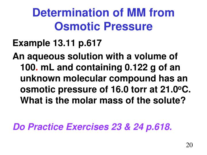 Determination of MM from Osmotic Pressure
