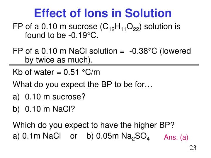 Effect of Ions in Solution