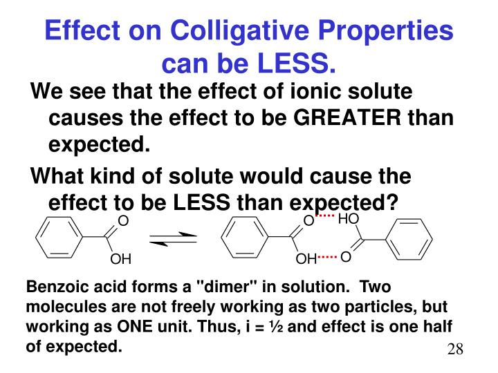 Effect on Colligative Properties can be LESS.