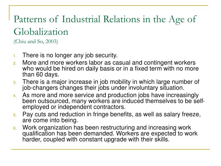 Patterns of Industrial Relations in the Age of Globalization