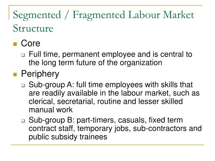 Segmented / Fragmented Labour Market Structure