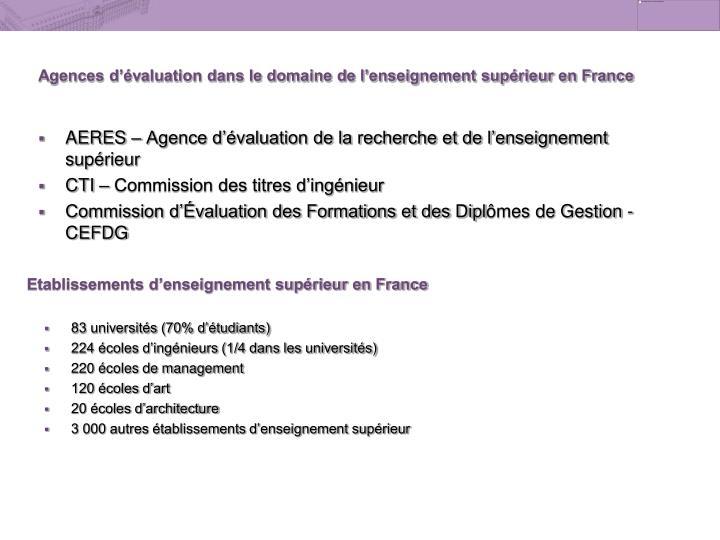 Agences d'évaluation dans le domaine de l'enseignement supérieur en France