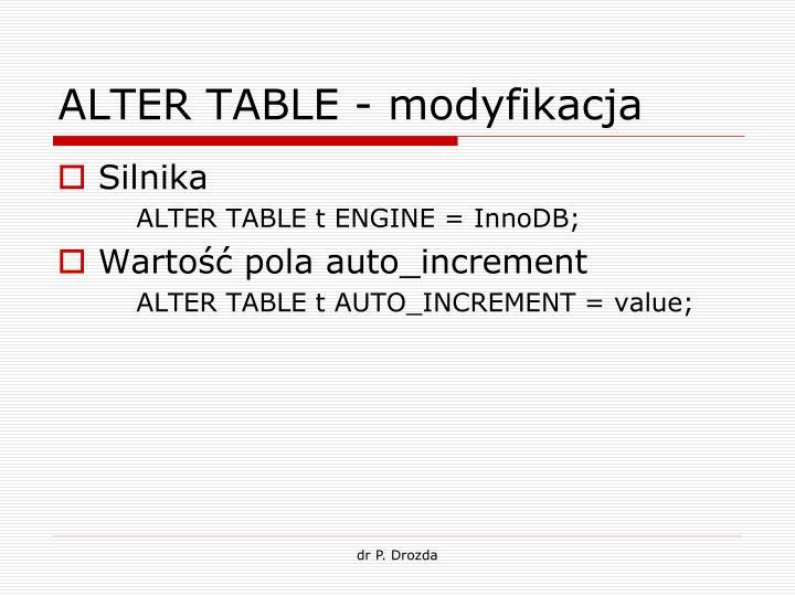 ALTER TABLE - modyfikacja