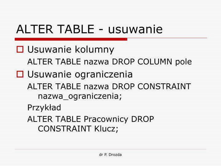 ALTER TABLE - usuwanie