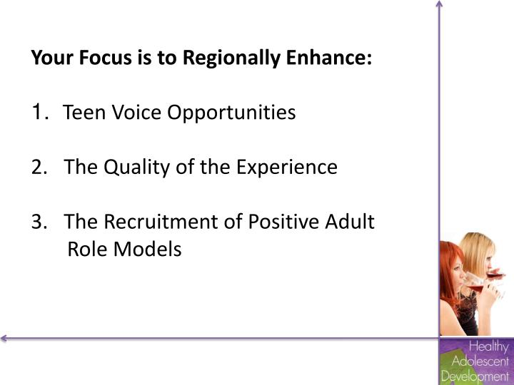 Your Focus is to Regionally Enhance: