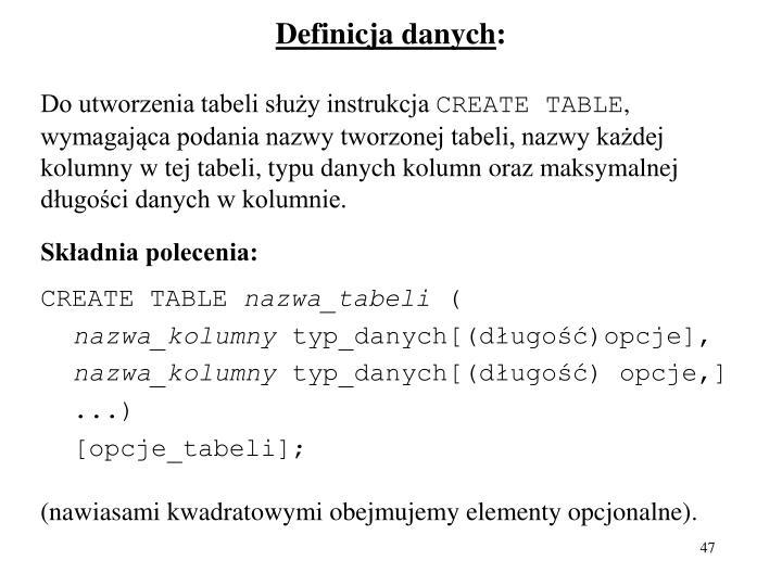 Definicja danych