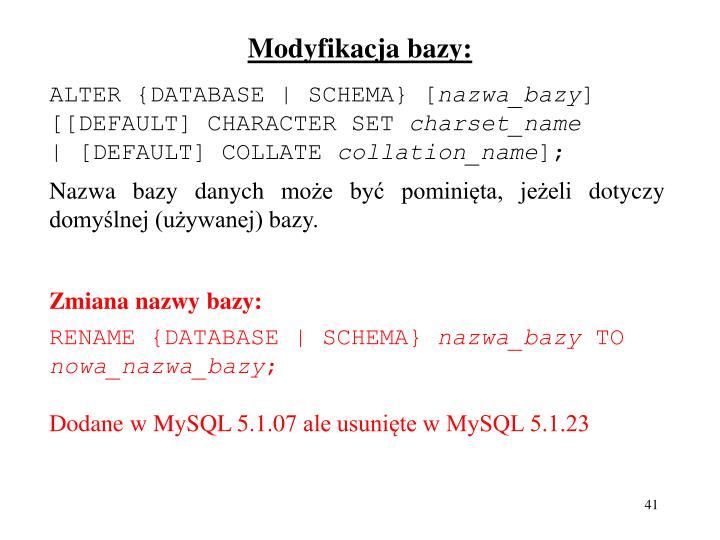 Modyfikacja bazy: