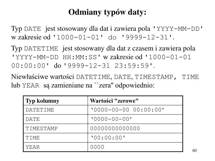 Odmiany typów daty