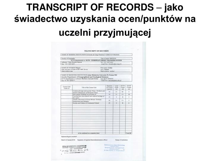 TRANSCRIPT OF RECORDS