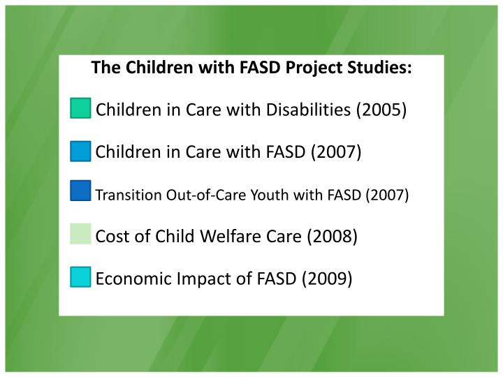 The Children with FASD Project Studies: