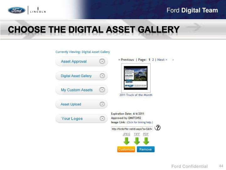 Choose the Digital Asset Gallery