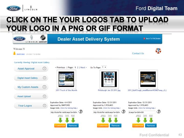 Click on the Your logos tab to upload your Logo in a