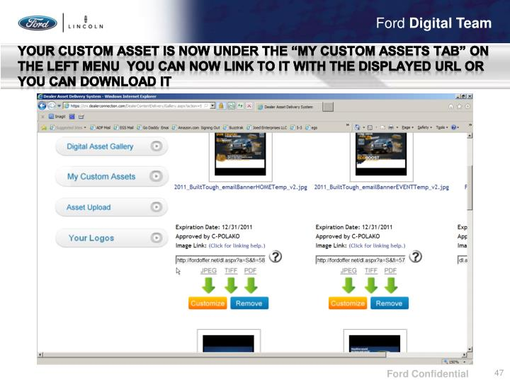 """Your custom asset is now under the """"My custom assets tab"""" on the left menu  You can now link to it with the displayed"""