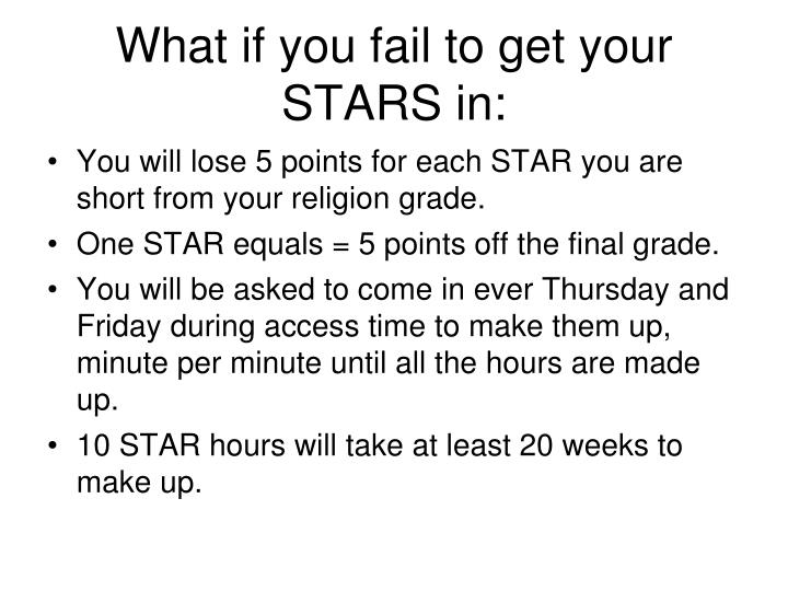 What if you fail to get your STARS in: