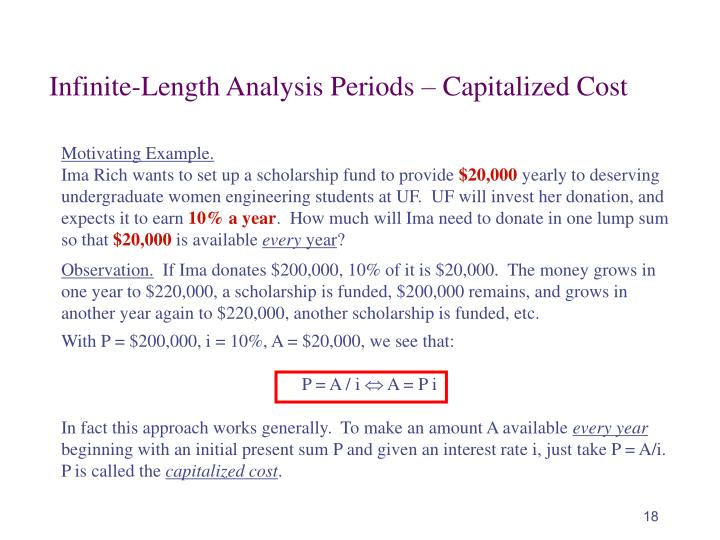 Infinite-Length Analysis Periods – Capitalized Cost