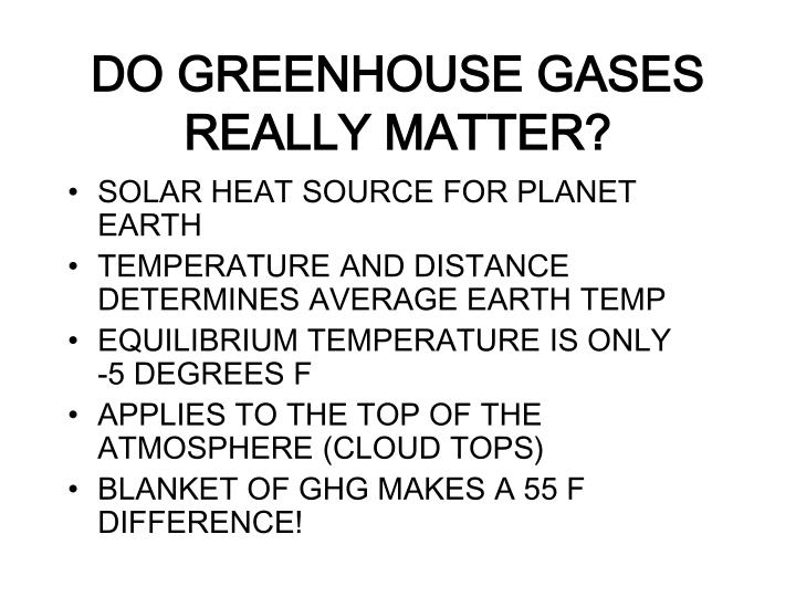 DO GREENHOUSE GASES REALLY MATTER?