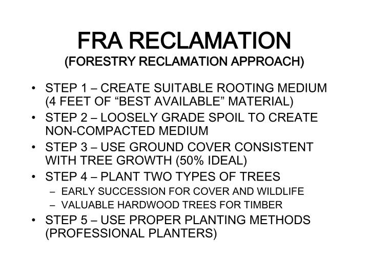 FRA RECLAMATION