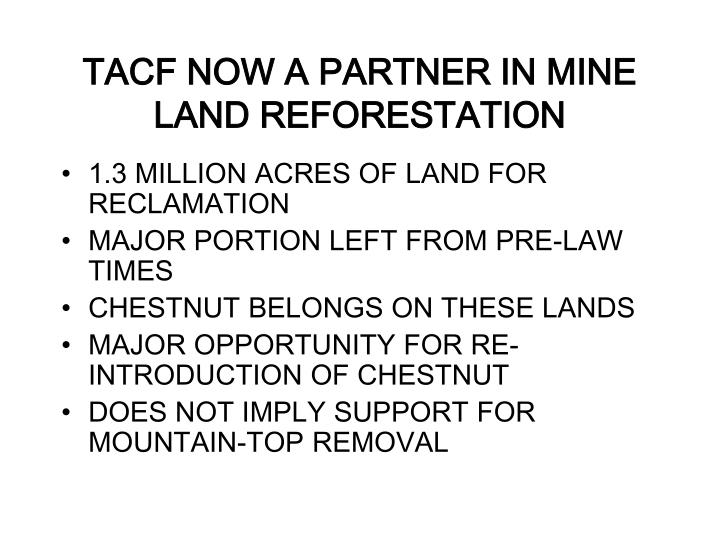 TACF NOW A PARTNER IN MINE LAND REFORESTATION