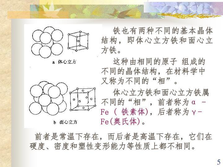 铁也有两种不同的基本晶体结构,即体心立方铁和面心立方铁。