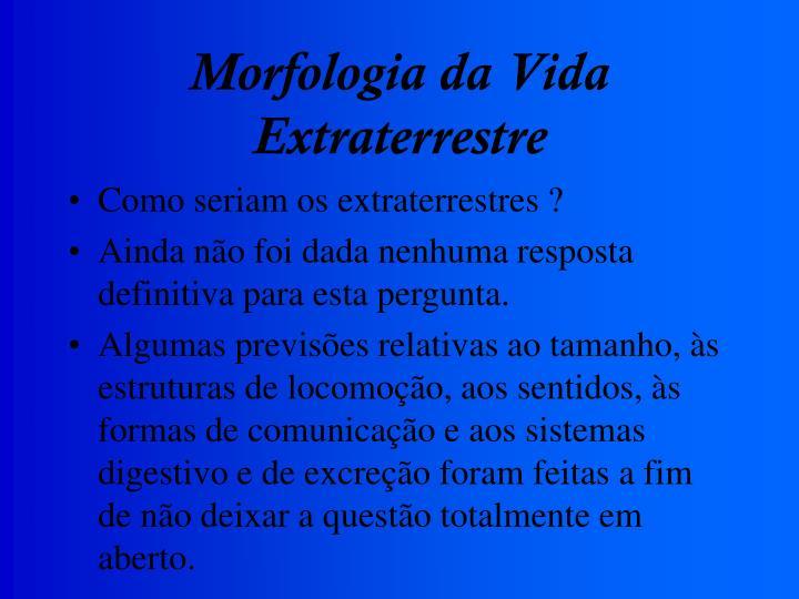 Morfologia da Vida Extraterrestre