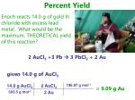 percent yield 2 aucl 3 3 pb 3 pbcl 2 2 au3
