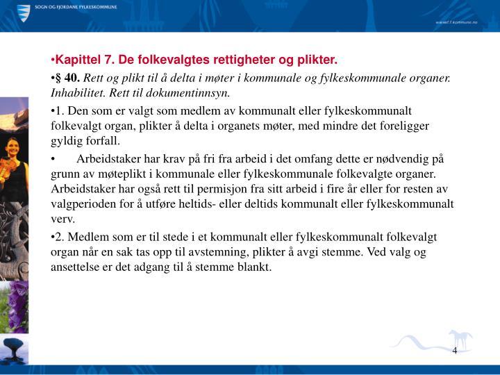 Kapittel 7. De folkevalgtes rettigheter og plikter.