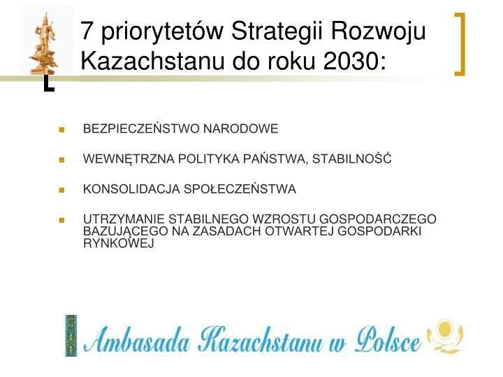 7 priorytetów Strategii Rozwoju Kazachstanu do roku 2030: