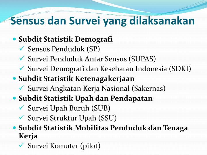 Sensus dan Survei yang dilaksanakan