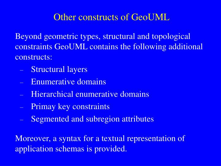 Other constructs of GeoUML