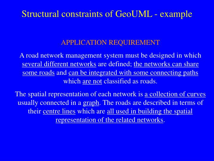 Structural constraints of GeoUML - example