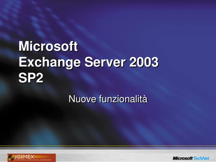Microsoft exchange server 2003 sp2