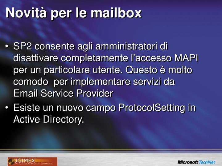 Novità per le mailbox