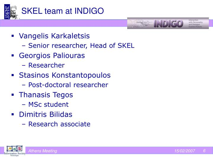 SKEL team at INDIGO