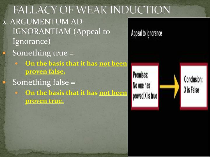 FALLACY OF WEAK INDUCTION