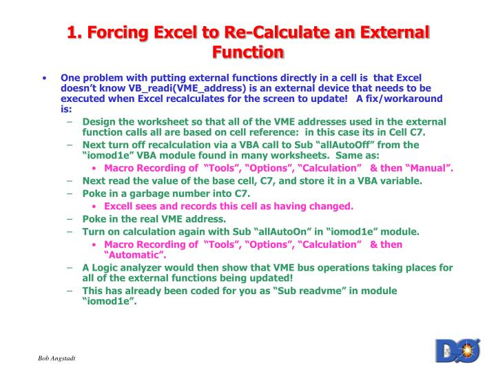 1 forcing excel to re calculate an external function