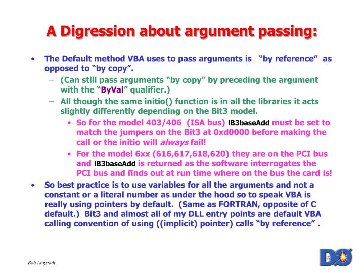 A Digression about argument passing: