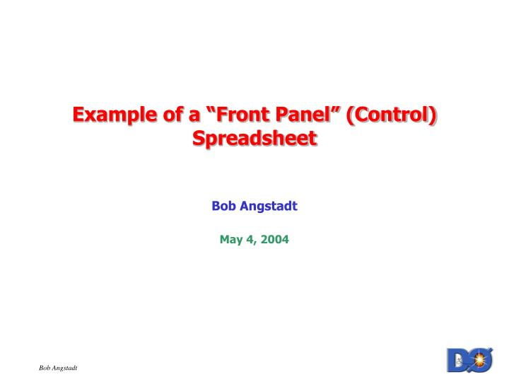Example of a front panel control spreadsheet