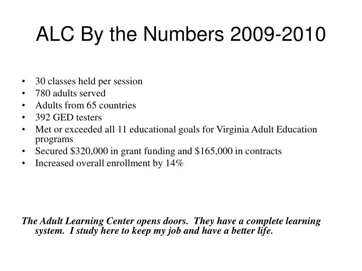 Alc by the numbers 2009 2010