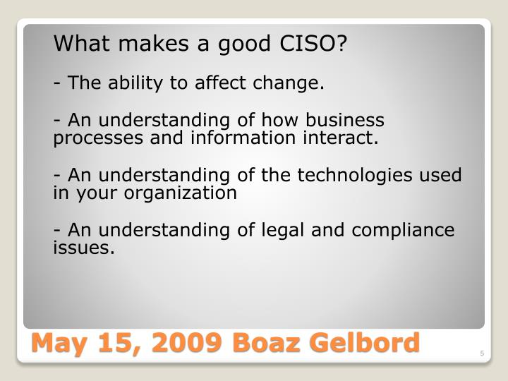 What makes a good CISO?