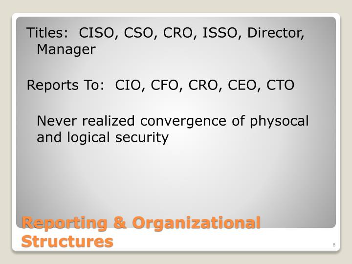 Titles:  CISO, CSO, CRO, ISSO, Director, Manager