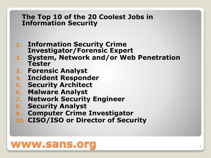 The Top 10 of the 20 Coolest Jobs in Information Security