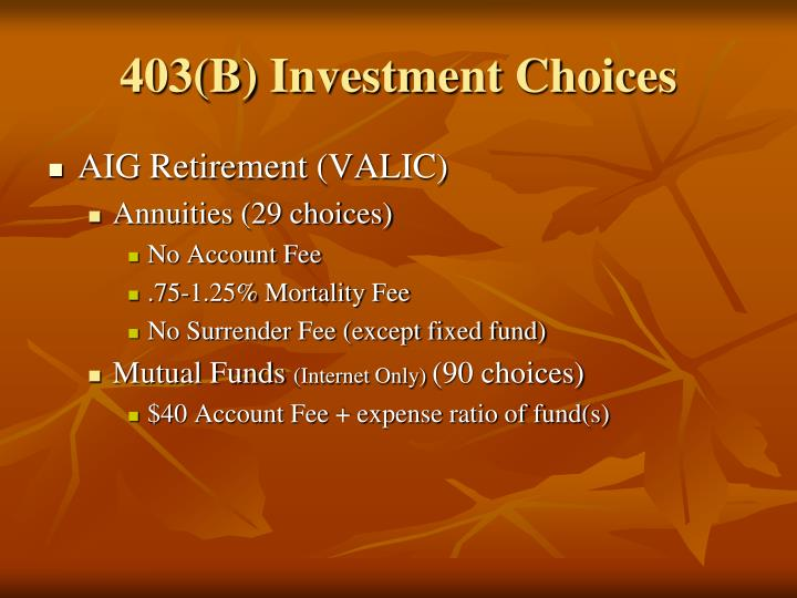 403(B) Investment Choices