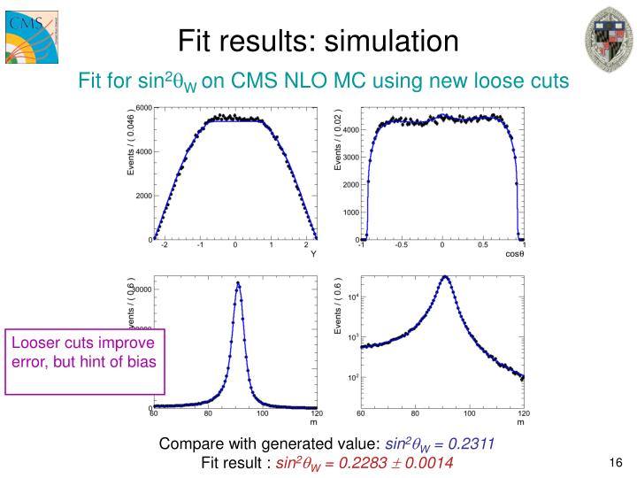 Fit results: simulation