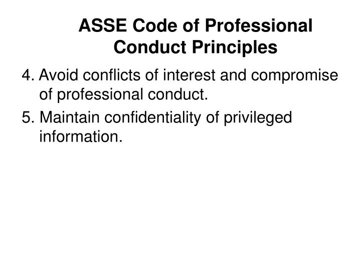ASSE Code of Professional